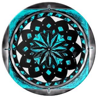 Dark Medicine Wheel Porcelain Plates