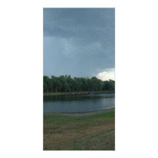 Dark Menacing Storm Cloud over a Lake valley Card
