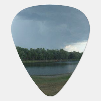 Dark Menacing Storm Cloud over a Lake valley Guitar Pick
