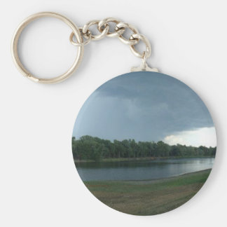 Dark Menacing Storm Cloud over a Lake valley Keychain