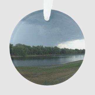 Dark Menacing Storm Cloud over a Lake valley Ornament