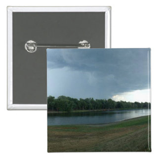 Dark Menacing Storm Cloud over a Lake valley Pinback Button