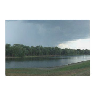 Dark Menacing Storm Cloud over a Lake valley Placemat