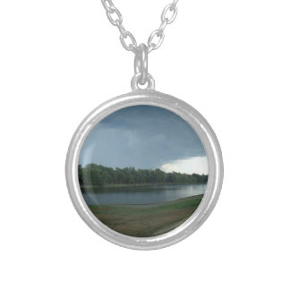 Dark Menacing Storm Cloud over a Lake valley Round Pendant Necklace