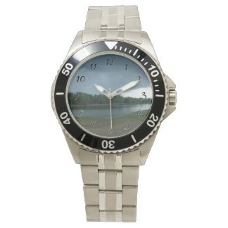 Dark Menacing Storm Cloud over a Lake valley Wrist Watches