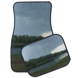 Dark Menacing Storm Cloud over a Lake valley Floor Mat
