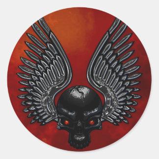 Dark Metal Skull Red Sticker