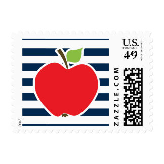 Dark Midnight Blue Horizontal Stripes; Apple Postage Stamp