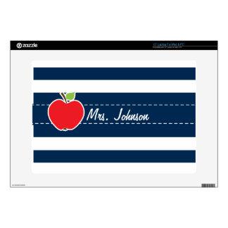 "Dark Midnight Blue Horizontal Stripes; Apple 15"" Laptop Decal"
