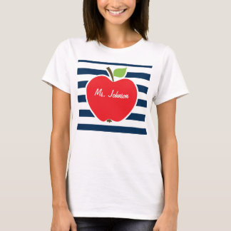 Dark Midnight Blue Horizontal Stripes; Apple T-Shirt