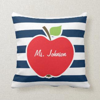 Dark Midnight Blue Horizontal Stripes; Apple Throw Pillow