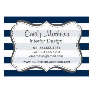 Dark Midnight Blue Horizontal Stripes Business Card