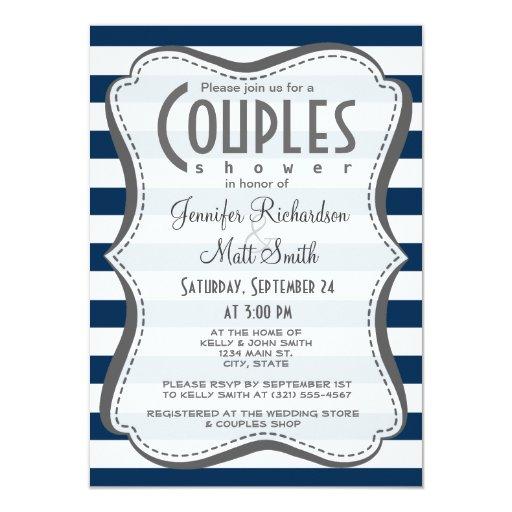 Dark Midnight Blue Horizontal Stripes 4.5x6.25 Paper Invitation Card