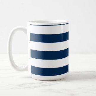 Dark Midnight Blue Horizontal Stripes Classic White Coffee Mug