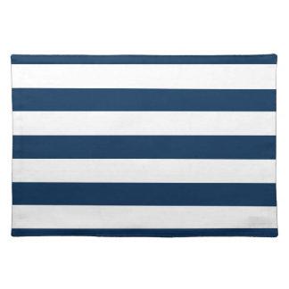 Dark Midnight Blue Horizontal Stripes Placemats