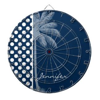 Dark Midnight Blue Polka Dots; Palm Tree Dart Boards