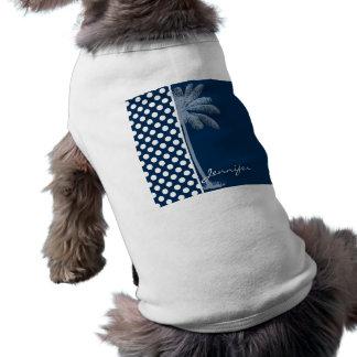 Dark Midnight Blue Polka Dots; Palm Tree Pet Shirt
