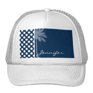 Dark Midnight Blue Polka Dots; Palm Tree Trucker Hat
