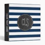 Dark Midnight Blue Stripes; Retro Chalkboard Vinyl Binder