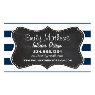 Dark Midnight Blue Stripes; Retro Chalkboard Business Card