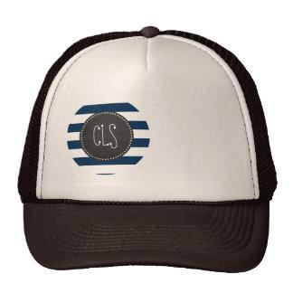 Dark Midnight Blue Stripes; Retro Chalkboard Mesh Hats