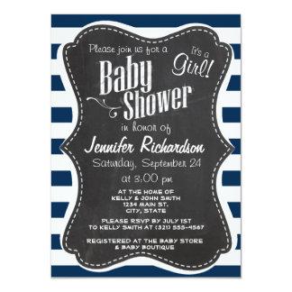 Dark Midnight Blue Stripes; Retro Chalkboard Personalized Invitation