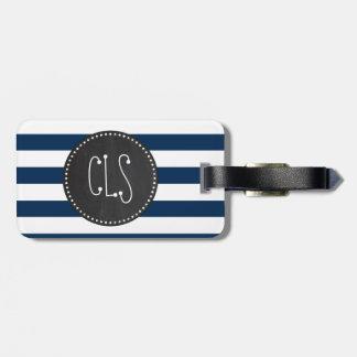 Dark Midnight Blue Stripes; Retro Chalkboard Luggage Tag