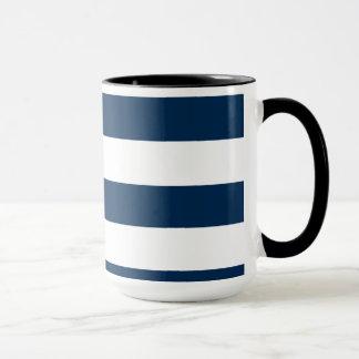 Dark Midnight Blue Stripes; Retro Chalkboard Mug