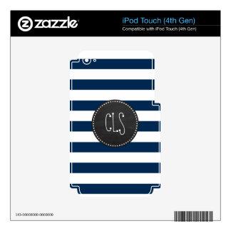 Dark Midnight Blue Stripes; Retro Chalkboard Decal For iPod Touch 4G
