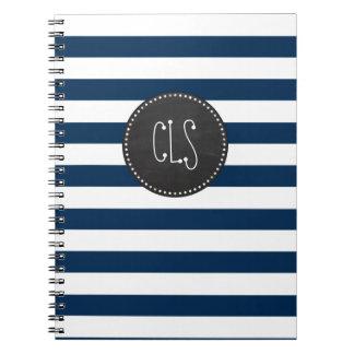 Dark Midnight Blue Stripes; Retro Chalkboard Spiral Notebook
