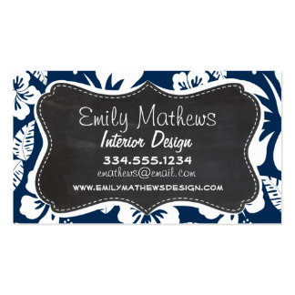 Dark Midnight Blue Tropical Chalkboard look Double-Sided Standard Business Cards (Pack Of 100)