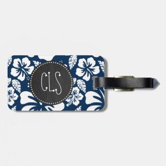 Dark Midnight Blue Tropical Chalkboard look Travel Bag Tags