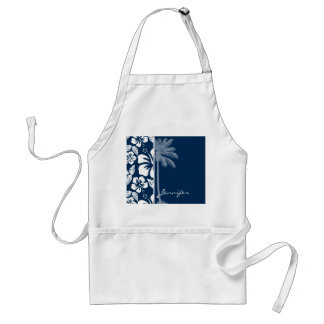 Dark Midnight Blue Tropical Hibiscus; Palm Adult Apron
