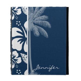 Dark Midnight Blue Tropical Hibiscus; Palm iPad Folio Cover
