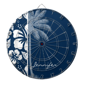 Dark Midnight Blue Tropical Hibiscus; Palm Dart Board
