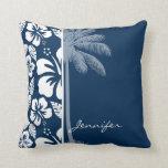 Dark Midnight Blue Tropical Hibiscus; Palm Throw Pillow