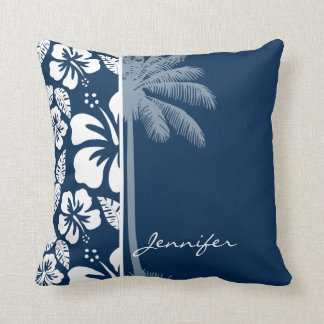 Dark Midnight Blue Tropical Hibiscus; Palm Pillow