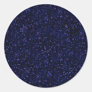 Dark Midnight Indigo Blue Glitter Classic Round Sticker