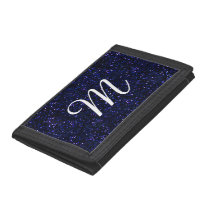 Dark Midnight Indigo Blue Glitter Tri-fold Wallet