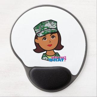 Dark Military Girl Camo Head Gel Mouse Pad