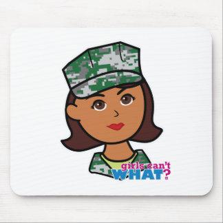 Dark Military Girl Camo Head Mouse Pad