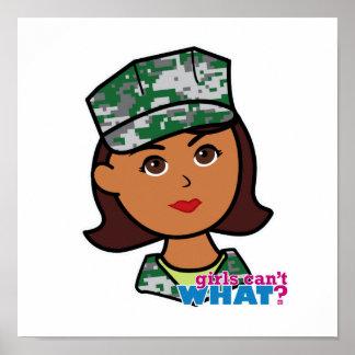 Dark Military Girl Camo Head Print