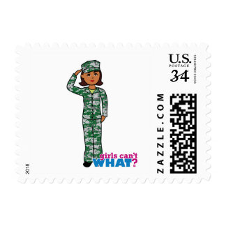 Dark Military Girl in Camo Stamp