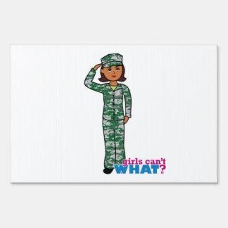 Dark Military Girl in Camo Sign