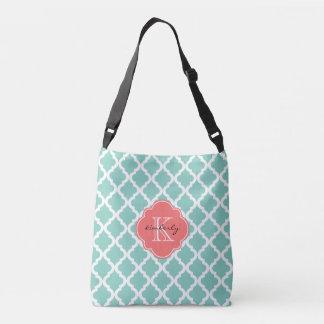 Dark Mint and Coral Moroccan Quatrefoil Monogam Crossbody Bag
