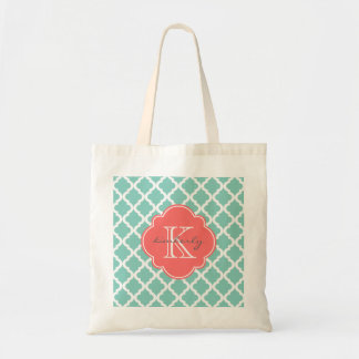 Dark Mint and Coral Moroccan Quatrefoil Monogam Tote Bag