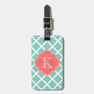 Dark Mint and Coral Moroccan Quatrefoil Print Bag Tag