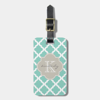 Dark Mint and Linen Moroccan Quatrefoil Print Luggage Tag