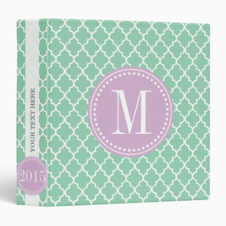 Dark Mint Moroccan Tiles Lattice Personalized 3 Ring Binder