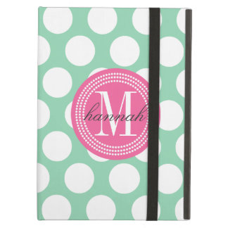 Dark Mint & Pink| Big Polka Dots Monogrammed iPad Air Cover